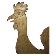 Antique Folk Art Very Large Rooster Iron Weather Vane