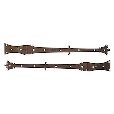 Antique Pair Iron Blanket Box Hinges