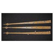 Antique Set of 3 Iron Strap Hinges