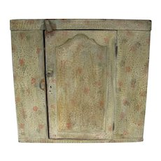 Antique 18th Century Folk Art Paint Decorated Wall Cabinet