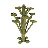 Antique Make Do Primitive Folk Art Amish Candelabra Stand