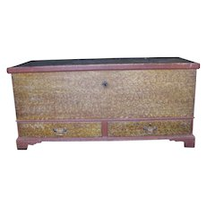 Antique Sponge Painted Pennsylvania Blanket Chest