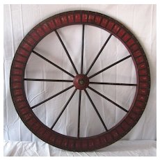 Vintage Painted Wooden Carnival Game Wheel of Chance