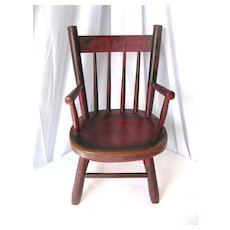 Antique Folk Painted Child's Windsor Chair