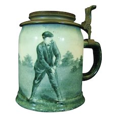 Antique Golf Theme O'Hara Dial Ceramic Stein