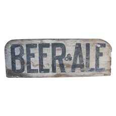 Antique Wooden Painted Beer & Ale Sign