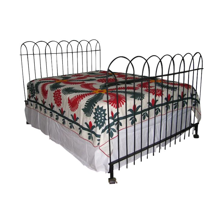 Antique Hairpin Wrought Iron Fence Queen Bed Frame Headboard And