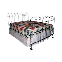 Antique Hairpin Wrought Iron Fence Queen Bed Frame Headboard and Footboard