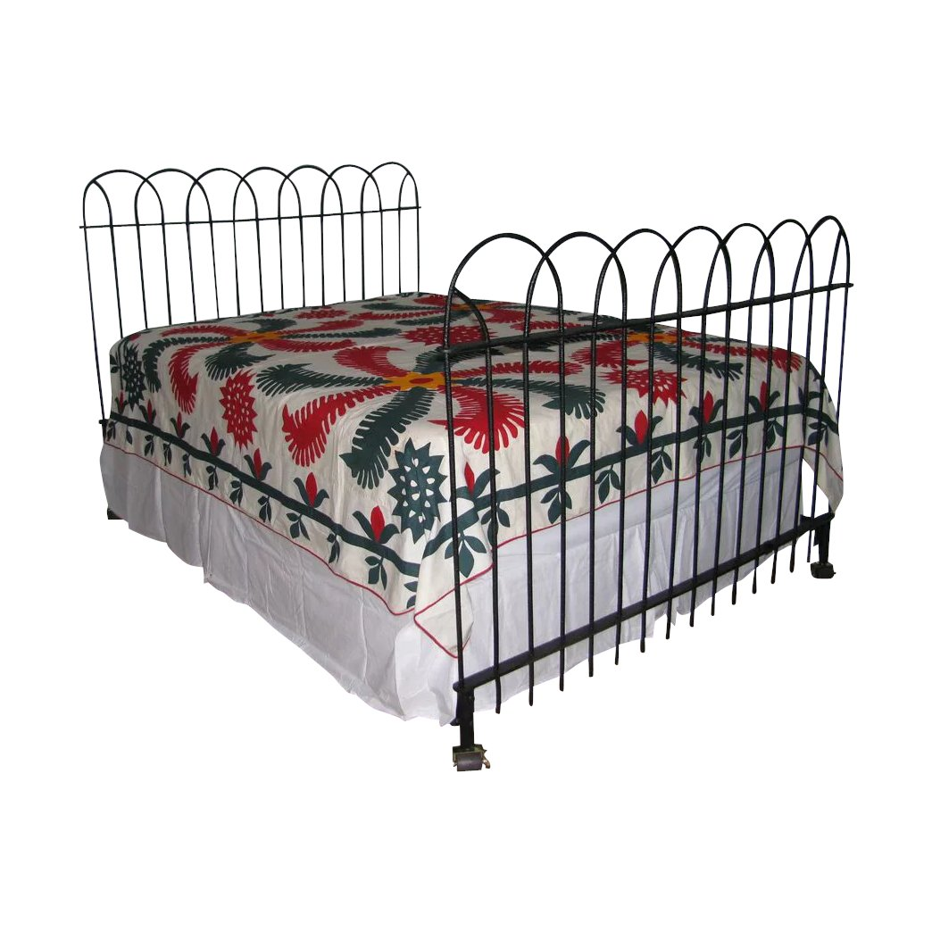 Antique Hairpin Wrought Iron Fence Queen Bed Frame Headboard And Finish Line Collectibles Ruby Lane