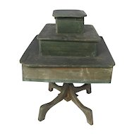 Antique Paint Decorated Wooden Rotating Country Store Display Table Stand