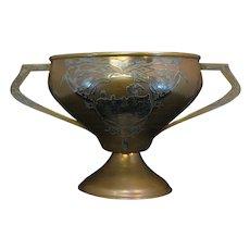 Antique Heintz Art Metal Large Trophy Cup 1914 Michigan Sterling on Bronze
