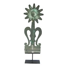 Antique Folk Art Sunflower Copper Weather Vane