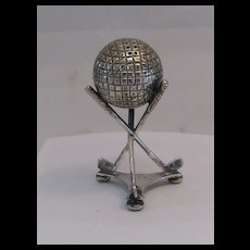 Antique Silver Golf Ball Club Salt Shaker