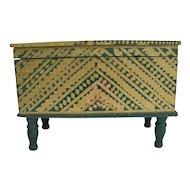 Antique Paint Decorated Pine Miniature Blanket Box