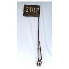 Antique Iron Railroad Stop Sign Signal
