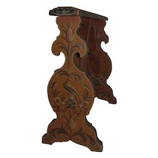 Antique Folk Art Decorated Arm Rest Wooden