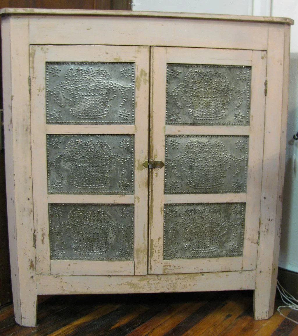 Antique Corner Pie Safe Rare Painted Punched Tin : Finish