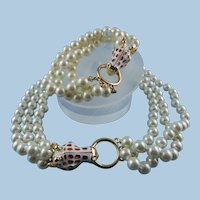 Signed KJL Kenneth Jay Lane Giraffe Head Three Strand Glass Pearl Necklace & Bracelet Set Mint