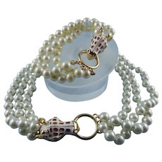 Signed KJL Kenneth Jay Lane Giraffe Head Three Strand Glass Pearl Necklace & Bracelet Set Mint