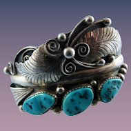 Large Phil Chapo Sterling Navajo Turquoise Cuff Bracelet