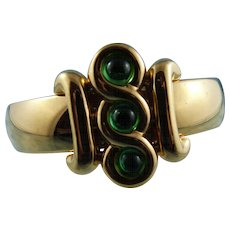 Signed Monet Gold Plated Cuff Bracelet With Emerald Green Glass Stones