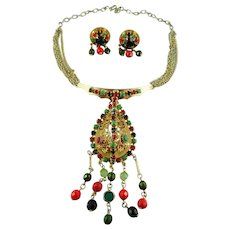 Statement 3 Dimensional Convertible Crystal Necklace Set