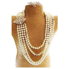 Couture Statement Glass Pearl Swarovski Crystal Wedding Necklace With Authentic D&E Clasp & Earrings