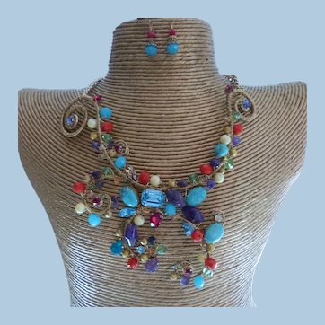 Free Form Hand Wrapped Couture Statement Necklace Set From Australia