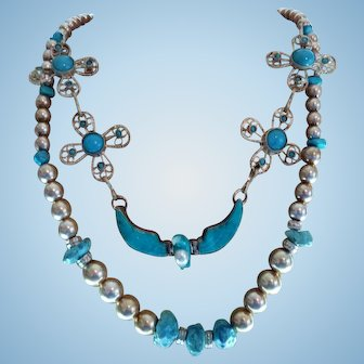 Sterling Silver Turquoise One Of A Kind Statement Necklace