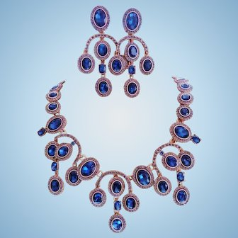 Signed Oscar De La Renta Sapphire Blue Crystal Statement Necklace Set