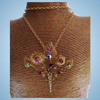 Signed Graziano Large Gold Tone Crystal Floral Ornament Convertible Brooch/Pendant Necklace