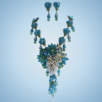 Signed Stanley Hagler Blue Butterfly Garden Statement Necklace Set