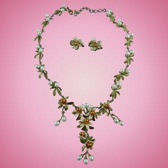 Signed Michael Michaud Orange Blossom Fresh Water Pearl Necklace Set