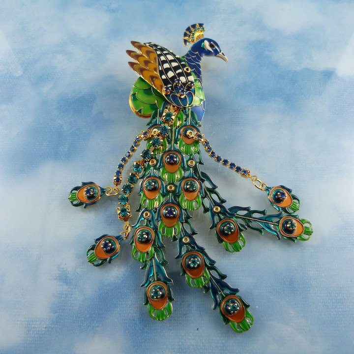 85673d46d590a Lunch At The Ritz Peacock Brooch/Pendant On Butterfly Blue Tapestry ...