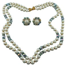 Signed Hobe Double Strand Swarovski Crystal And Glass Pearl Necklace Set