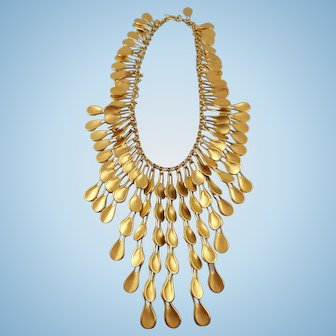 Robert Lee Morris For Donna Karan Couture Gold Plated Silver Statement Necklace Book Piece