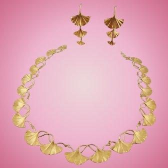 Signed Michael Michaud Botanical Ginkgo Biloba Statement Necklace Set