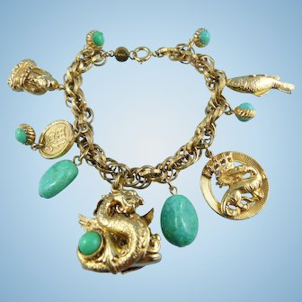 Asian Themed Golden Charm Bracelet By Accessocraft N.Y.C.