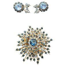 Austrian Crystal Starburst Brooch & Matching Earring Set Signed Austria