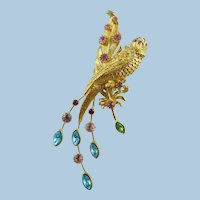 Graziano Large Golden Peacock Pin/Brooch With Austrian Crystals