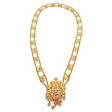 Stunning Gold Plated Filigree & Swarovski Crystal Statement Necklace