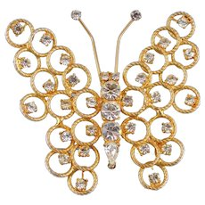 Designer Signed Hattie Carnegie Large Goldtone Rhinestone Butterfly Brooch Circa 1950's