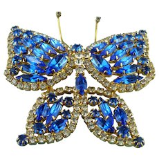 Large Sapphire Blue & Goldtone Crystal Butterfly Pin/Brooch