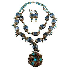 Designer Signed Deep Turquoise Faceted Glass Bead Double Strand Necklace Set By Butterfly Blue