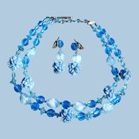 Stunning Sky Blue ~ Signed West Germany ~ Double Strand Floral Demi Parure ~ Celluloid, Crystal & Givre Glass Beads