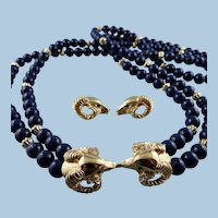 Signed KJL Kenneth Jay Lane Rams Head Necklace & Earring Set: Mint