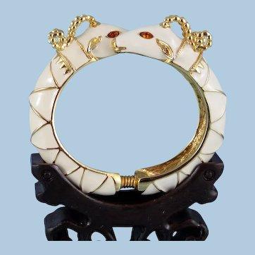 KJL Kenneth Jay Lane Double Rams Head By-Pass Cuff Bracelet ... Mint ...Book Piece