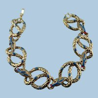 Signed Kenneth Jay Lane Snake serpent Link Bracelet
