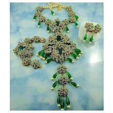 "Massive Signed Stanley Hagler Bib Front ""Pools Of Emerald Green"" Grand Parure"