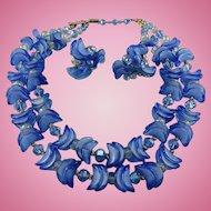 Impressive Signed Vendome Azure Blue Ribbon Glass And Crystal  Necklace Set
